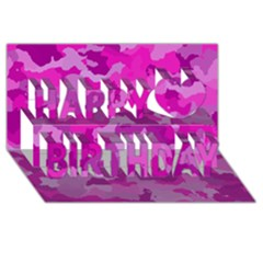 Camouflage Hot Pink Happy Birthday 3d Greeting Card (8x4)