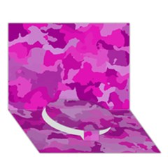 Camouflage Hot Pink Circle Bottom 3d Greeting Card (7x5)  by MoreColorsinLife