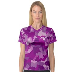 Camouflage Purple Women s V Neck Sport Mesh Tee by MoreColorsinLife