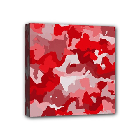 Camouflage Red Mini Canvas 4  X 4  by MoreColorsinLife