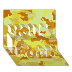 Camouflage Yellow You Rock 3d Greeting Card (7x5)  by MoreColorsinLife
