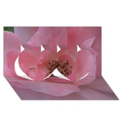Pink Rose Twin Hearts 3d Greeting Card (8x4)  by timelessartoncanvas