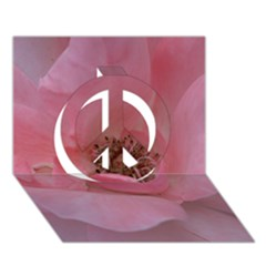 Pink Rose Peace Sign 3d Greeting Card (7x5)  by timelessartoncanvas