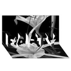 Exotic Black And White Flowers Party 3d Greeting Card (8x4)  by timelessartoncanvas