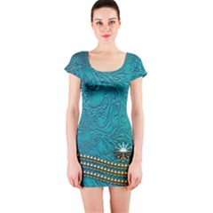 Wonderful Decorative Design With Floral Elements Short Sleeve Bodycon Dresses by FantasyWorld7