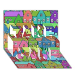 House 001 TAKE CARE 3D Greeting Card (7x5)