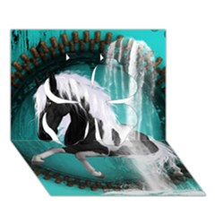 Beautiful Horse With Water Splash  Clover 3d Greeting Card (7x5)  by FantasyWorld7