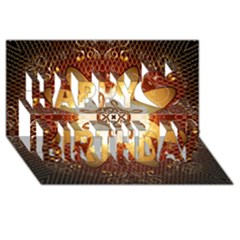 Elegant, Decorative Kaleidoskop In Gold And Red Happy Birthday 3d Greeting Card (8x4)  by FantasyWorld7