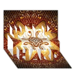 Elegant, Decorative Kaleidoskop In Gold And Red Work Hard 3d Greeting Card (7x5)  by FantasyWorld7