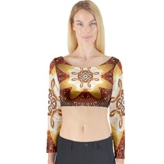 Elegant, Decorative Kaleidoskop In Gold And Red Long Sleeve Crop Top by FantasyWorld7
