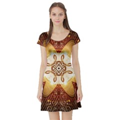 Elegant, Decorative Kaleidoskop In Gold And Red Short Sleeve Skater Dresses by FantasyWorld7