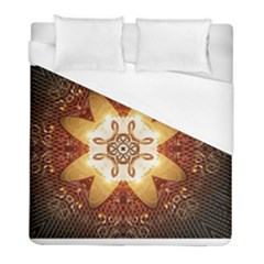 Elegant, Decorative Kaleidoskop In Gold And Red Duvet Cover Single Side (twin Size) by FantasyWorld7