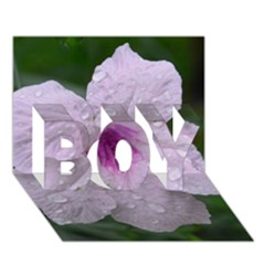 Pink Purple Flowers Boy 3d Greeting Card (7x5) by timelessartoncanvas