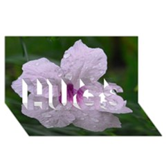 Pink Purple Flowers Hugs 3d Greeting Card (8x4)  by timelessartoncanvas