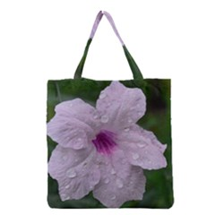 Pink Purple Flowers Grocery Tote Bags by timelessartoncanvas