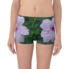Pink Purple Flowers Boyleg Bikini Bottoms by timelessartoncanvas