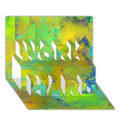 Abstract In Blue, Green, Copper, And Gold Work Hard 3d Greeting Card (7x5)  by digitaldivadesigns