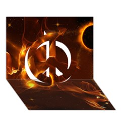 Fire And Flames In The Universe Peace Sign 3d Greeting Card (7x5)  by FantasyWorld7