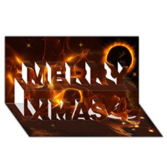 Fire And Flames In The Universe Merry Xmas 3d Greeting Card (8x4)  by FantasyWorld7