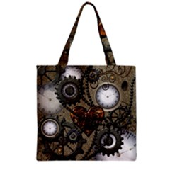 Steampunk With Heart Grocery Tote Bags by FantasyWorld7