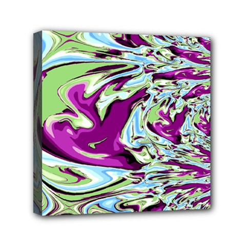 Purple, Green, And Blue Abstract Mini Canvas 6  X 6  by digitaldivadesigns