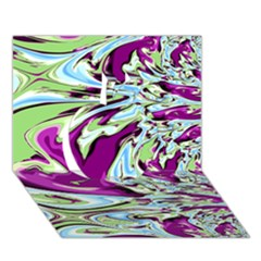 Purple, Green, And Blue Abstract Apple 3d Greeting Card (7x5)  by digitaldivadesigns