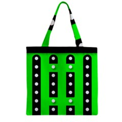Florescent Green Polka Dot  Zipper Grocery Tote Bags