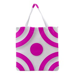 Florescent Pink White Abstract  Grocery Tote Bags