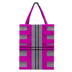 Florescent Pink Grey Abstract  Classic Tote Bags