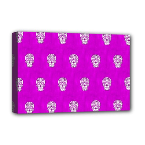 Skull Pattern Hot Pink Deluxe Canvas 18  X 12   by MoreColorsinLife
