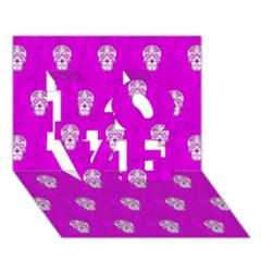 Skull Pattern Hot Pink Love 3d Greeting Card (7x5)  by MoreColorsinLife