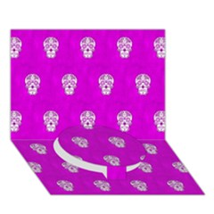 Skull Pattern Hot Pink Circle Bottom 3d Greeting Card (7x5)  by MoreColorsinLife