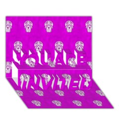 Skull Pattern Hot Pink You Are Invited 3d Greeting Card (7x5)  by MoreColorsinLife