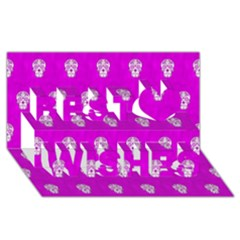 Skull Pattern Hot Pink Best Wish 3d Greeting Card (8x4)  by MoreColorsinLife