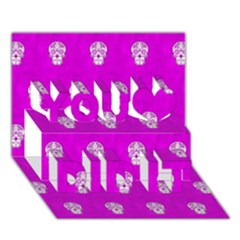 Skull Pattern Hot Pink You Did It 3d Greeting Card (7x5) by MoreColorsinLife