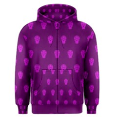 Skull Pattern Purple Men s Zipper Hoodies by MoreColorsinLife