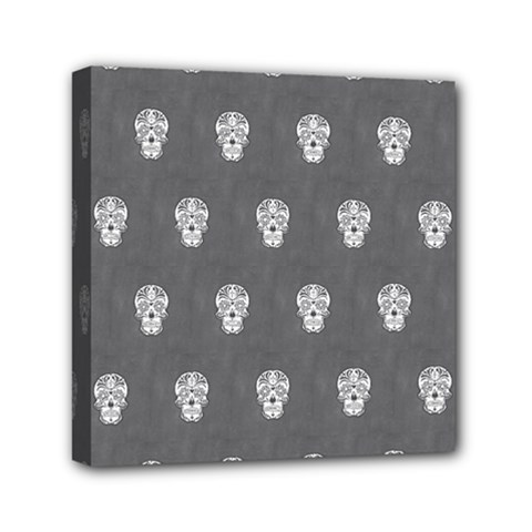 Skull Pattern Silver Mini Canvas 6  X 6  by MoreColorsinLife