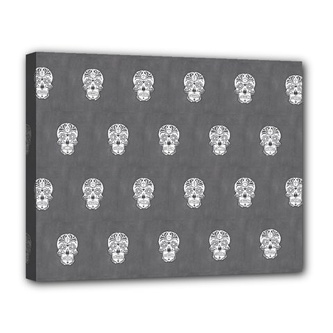 Skull Pattern Silver Canvas 14  X 11  by MoreColorsinLife