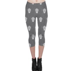 Skull Pattern Silver Capri Leggings by MoreColorsinLife
