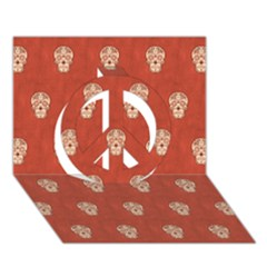 Skull Pattern Terra Peace Sign 3d Greeting Card (7x5)  by MoreColorsinLife