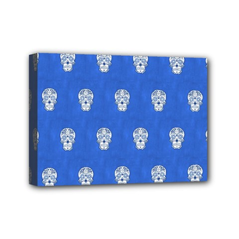 Skull Pattern Inky Blue Mini Canvas 7  X 5  by MoreColorsinLife