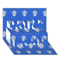 Skull Pattern Inky Blue You Rock 3d Greeting Card (7x5)  by MoreColorsinLife