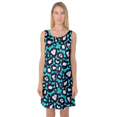 Turquoise Black Cheetah Abstract  Sleeveless Satin Nightdresses by OCDesignss