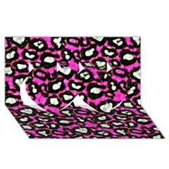 Pink Black Cheetah Abstract  Twin Hearts 3d Greeting Card (8x4)  by OCDesignss