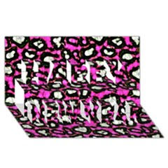 Pink Black Cheetah Abstract  Happy New Year 3d Greeting Card (8x4)