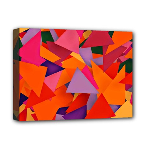 Geo Fun 8 Hot Colors Deluxe Canvas 16  X 12   by MoreColorsinLife