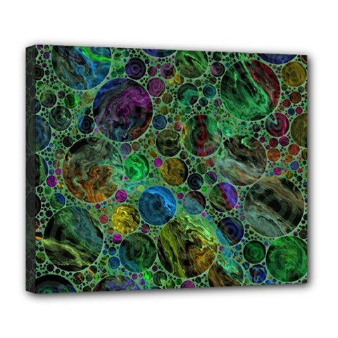 Lovely Allover Bubble Shapes Green Deluxe Canvas 24  X 20   by MoreColorsinLife