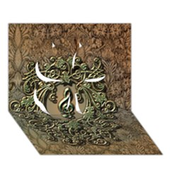 Elegant Clef With Floral Elements On A Background With Damasks Clover 3d Greeting Card (7x5)  by FantasyWorld7