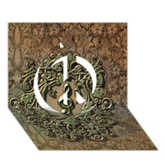 Elegant Clef With Floral Elements On A Background With Damasks Peace Sign 3d Greeting Card (7x5)  by FantasyWorld7