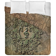 Elegant Clef With Floral Elements On A Background With Damasks Duvet Cover (double Size) by FantasyWorld7